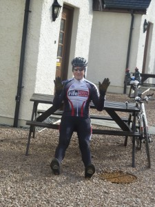 Tom shows us how to ride with no hands, but forgets to get on his bike first